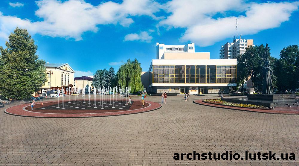 Візуалізація розміщення фонтану на Театральному майдані у Луцьку