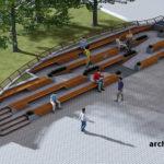 Візуалізація розміщення фонтану на Театральному майдані Варіант 1