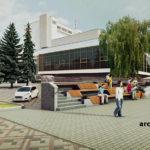 Візуалізація розміщення фонтану на Театральному майдані Варіант 2
